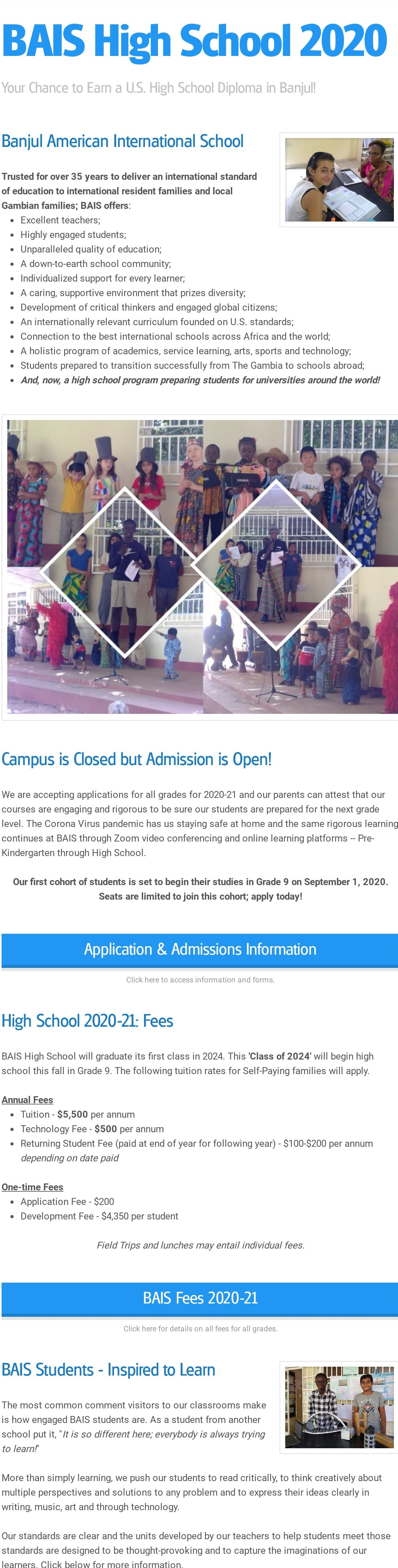 Campus is Closed but BAIS Admission is Open!